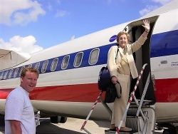 Jean and Tom boarding plane in Havana, Cuba