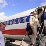 Jean and Tom boarding plane in Havana, Cuba