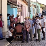A street game attracts passersby in Havanna Cuba