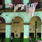 building and laundry in Havana, Cuba