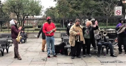 Jean singing with street band in Jackson Square NOLA 85th birthday