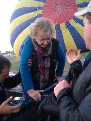 Jean getting into balloon in Turkey