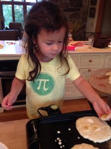 Coco makes pancakes
