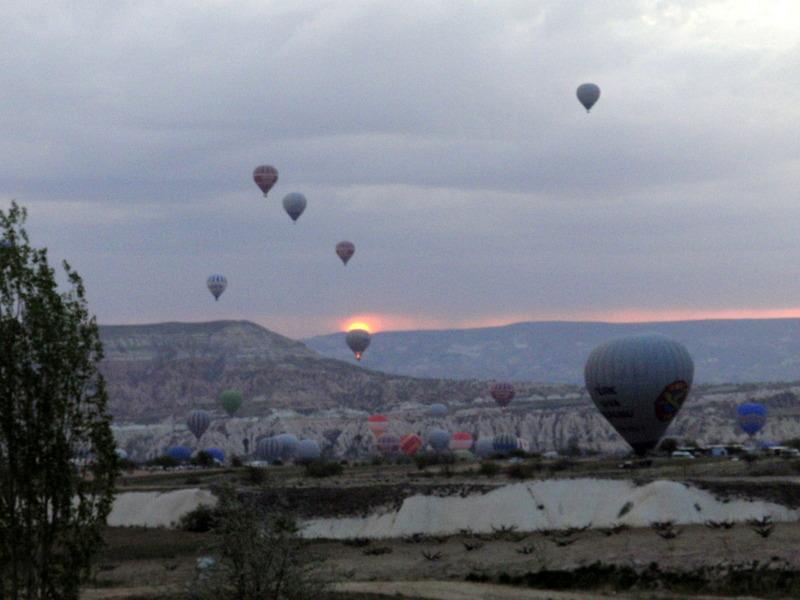 Sun rise from hot air balloon over Cappadoccia, Turkey