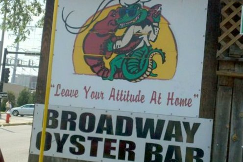 Broadway Oyster Bar sign