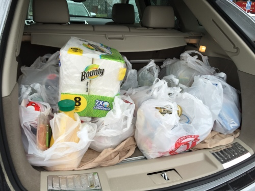 Thanksgiving groceries in car