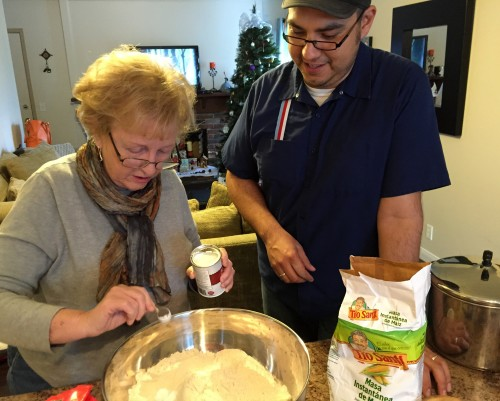 Making Christmas tamales
