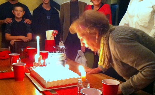 Jean and birthday cake 2014
