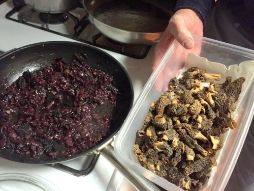 Dried mushrooms reconstituted