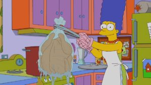 Marge Simpson cooking turkey