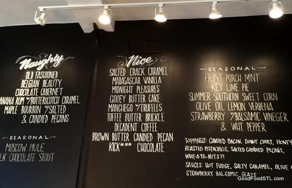 Clementine's ice cream menu