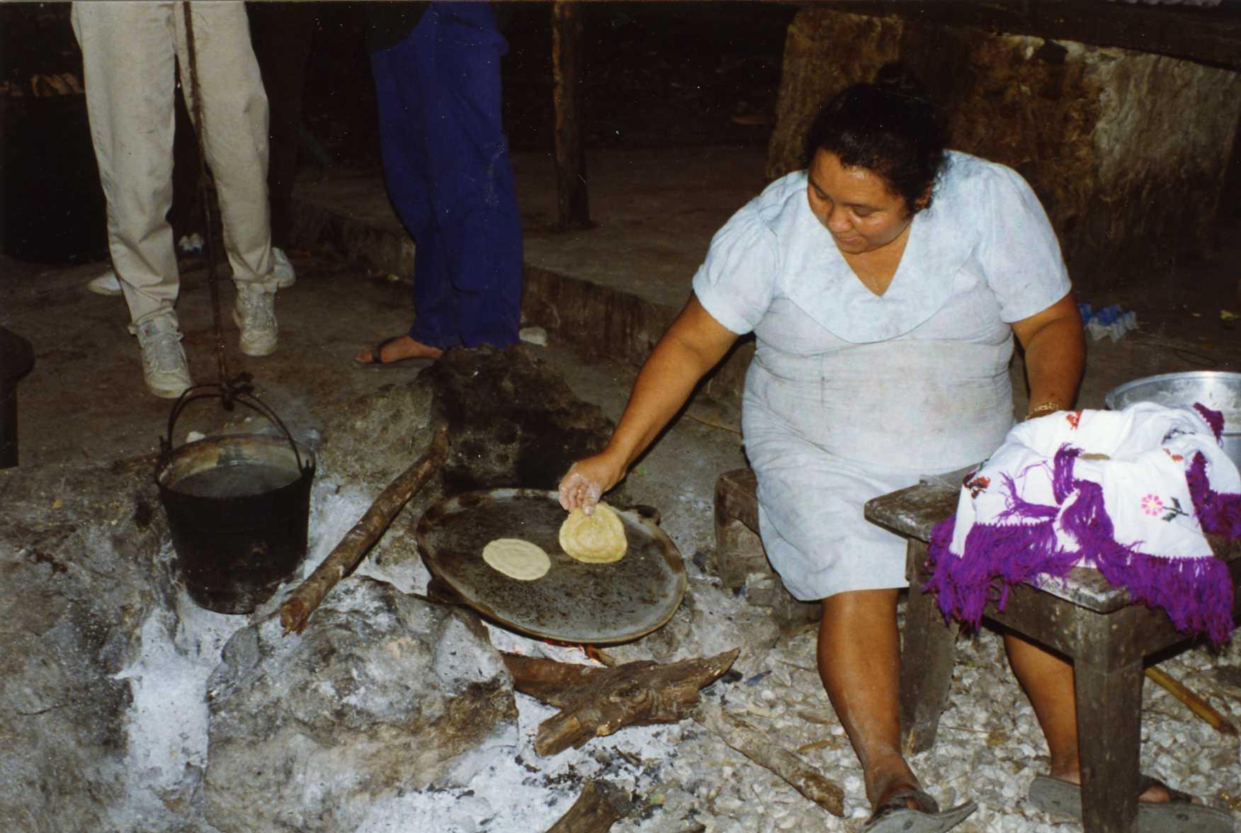 Making tortillas in the backyard, Tulum, Mexico