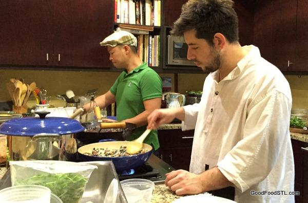 Chef Ben Poremba and Chef Bernie Lee in my daugher's kitchen.
