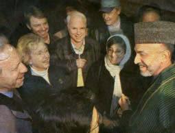 Sens. Lieberman, Carnahan, Edwards, McCain, and Thompson, meet with Afghan president Ahmid Karzai and Women's Affairs Minister Sima Samar at Bagram air base near Kabul