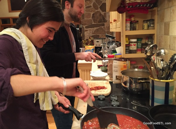Austin and Summer make a Creamy Vodka Sauce for pasta.