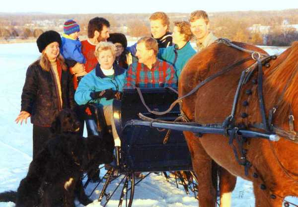 Carnahan family and sleigh