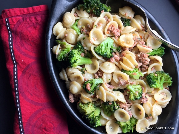 Orecchiette with Sausage and Broccoli, recipe adapted by Jennifer Segal from Lidia's Italian Table