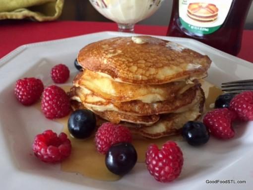 Lemon Ricotta Pancakes with Fried Apples