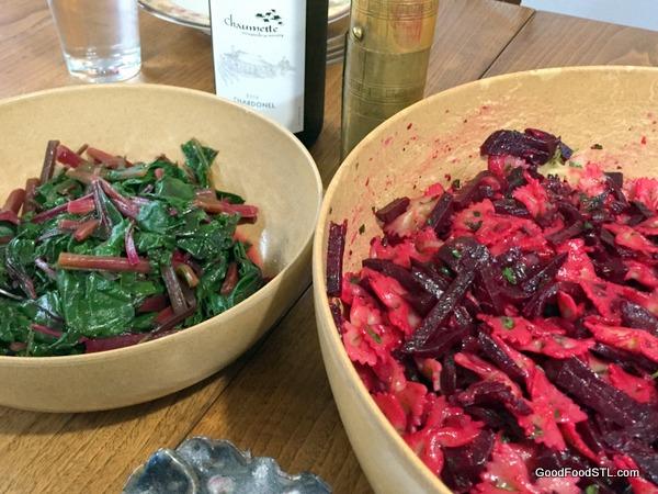 beet pasta and beet greens