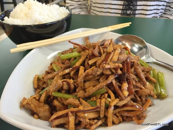 Tai Ke Taiwanese Hokka Stir fry pork celery calamari dried tofu