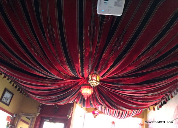 Ceiling at Ranoush complements the Middle Eastern decor