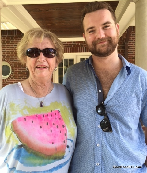 Posing with my grandson, Andrew, while I'm wearing a watermelon tee shirt.