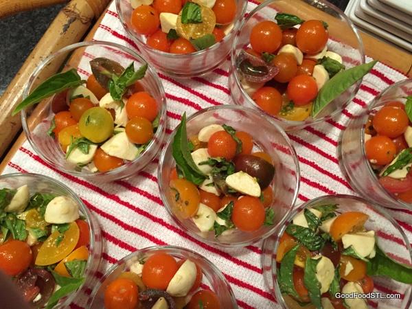 tomato caprese salad in bowls