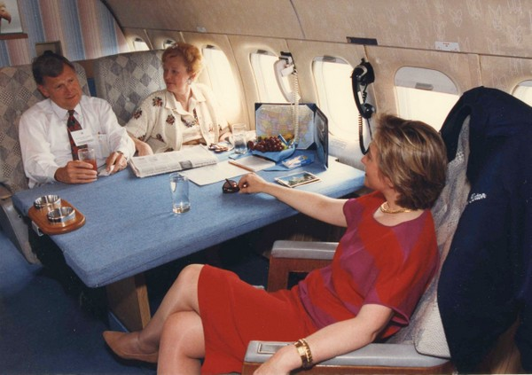 Gov. and Mrs. Mel Carnahan aboard Air Force 1 with First Lady Hillary Clinton, June 19, 1993.