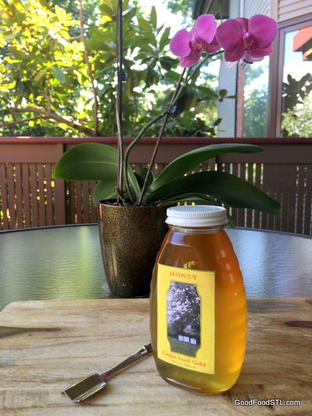 Michael Dee's raw Back Locust honey is the color of Champaign.