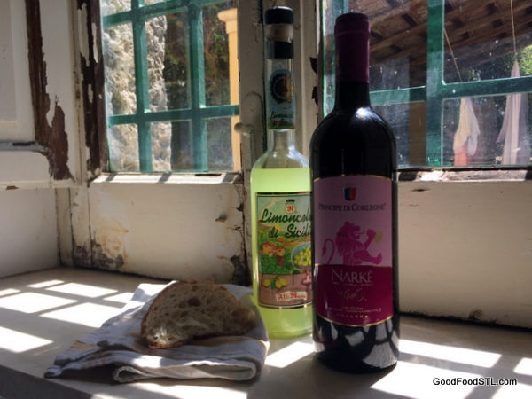 wine in window Sicily
