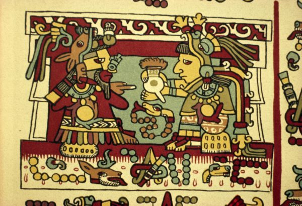 An Aztec couple drinking chocolate on their wedding day.