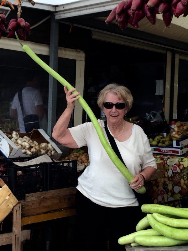Long zucchini in Sicilian market