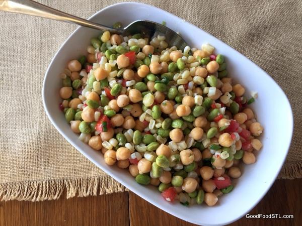 garbanzo, edamame, corn salad