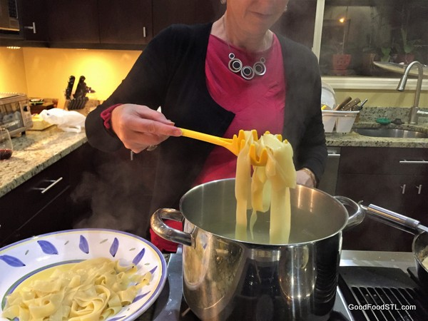 cooking pasta noodles