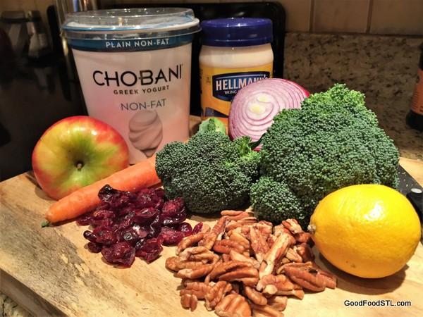 ingredients for broccoli apple salad