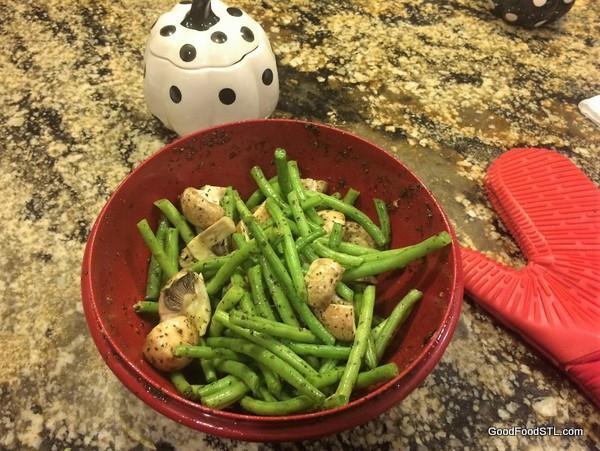 Preparing vegetables for Greek Lemon Chicken