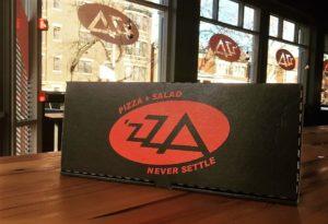 'Zza Pizza carryout box