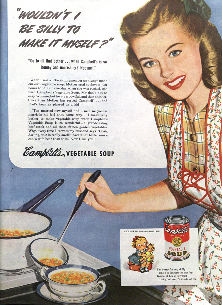 Campbell soup ad from1940s