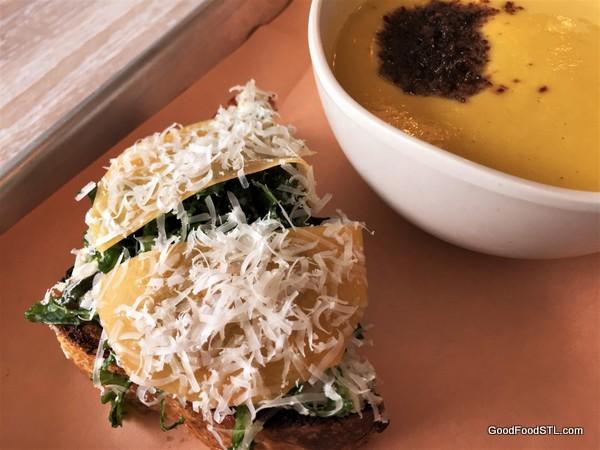 Vicia restaurant tartin and squash souop.
