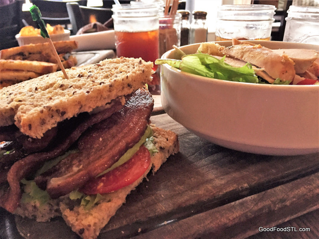 Bacon, lettuce, avocado, and tomato sandwich