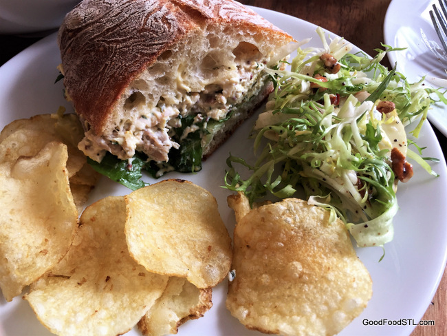 Chicken Salad sandwich with Apple-Blue Cheese Salad and chips.