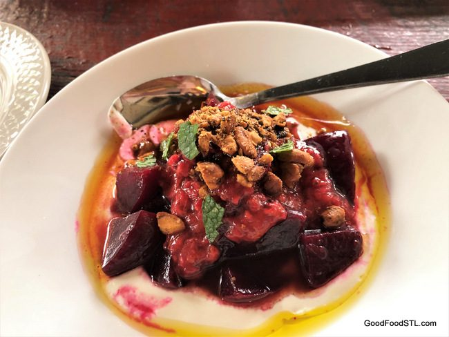 Marinated Beets with cashew dukkah
