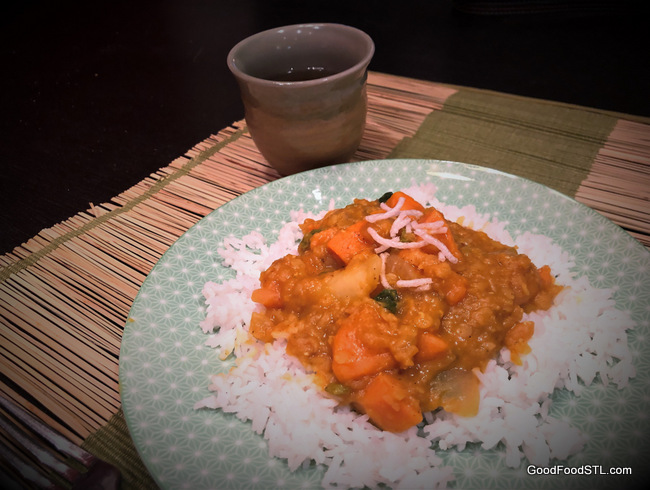 Red Curry Lentils with Sweet Potatoes & Spinach