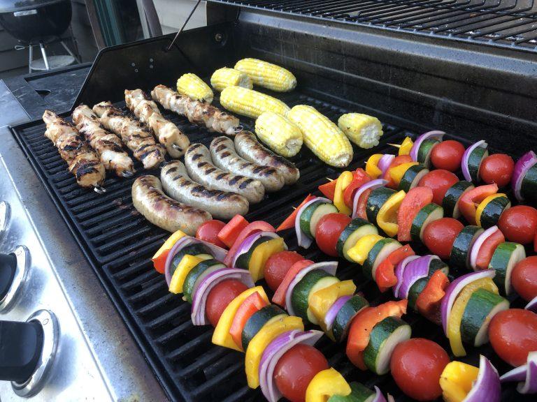 Grilled Chicken-Brat Kabobs